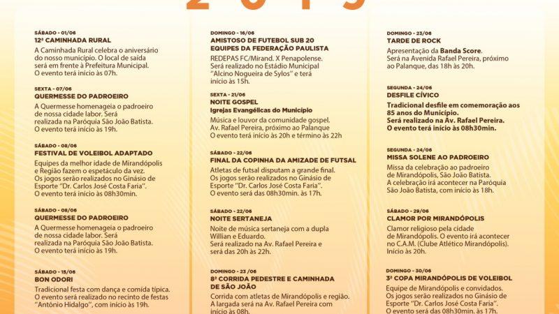 Prefeitura lança calendário festivo com um mês de eventos