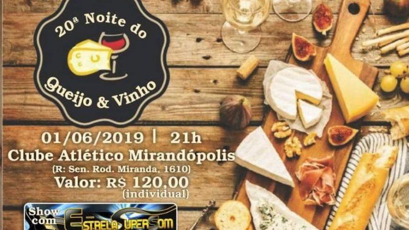 Noite do Queijo e Vinho acontece no sábado (01), em Mirandópolis