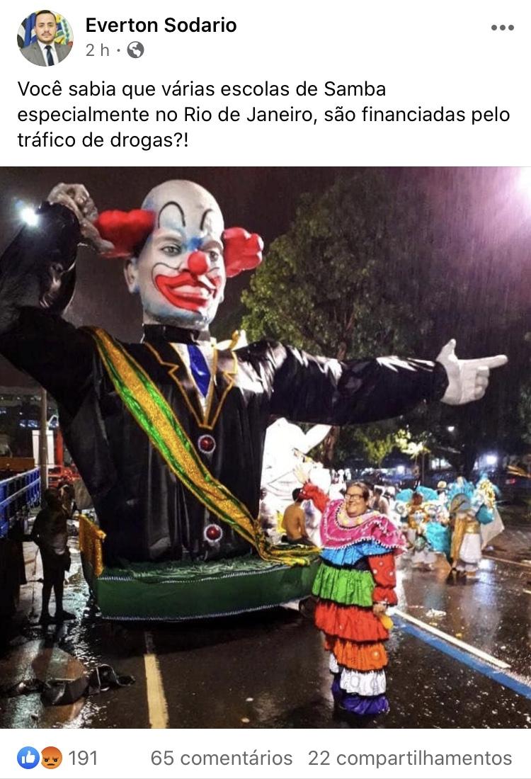 Prefeito de Mirandópolis diz que escolas de samba do RJ são financiadas pelo tráfico de drogas