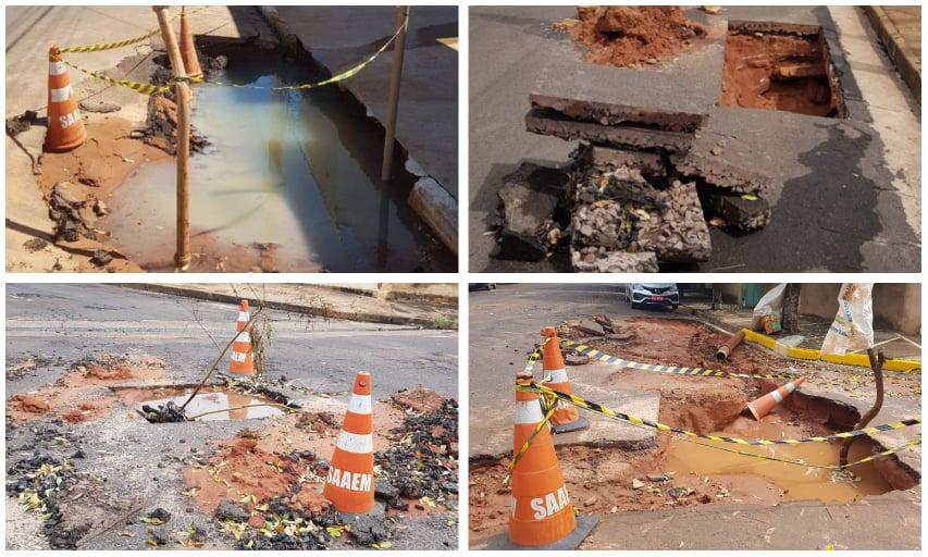 Vazamento de água e buracos abertos pelo Saaem geram reclamações de moradores