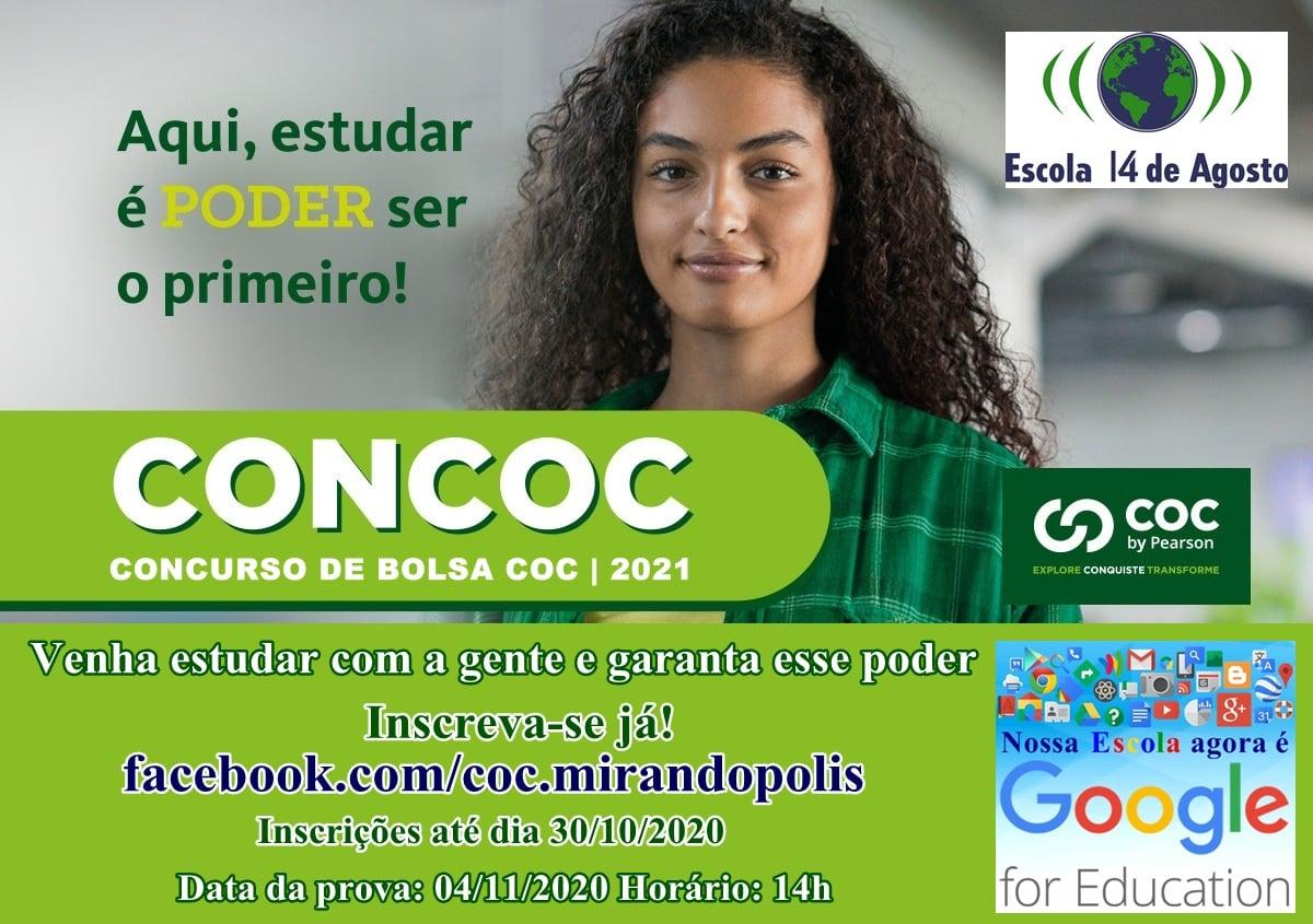Escola '14 de Agosto – COC Mirandópolis' realiza concurso de bolsa de estudo