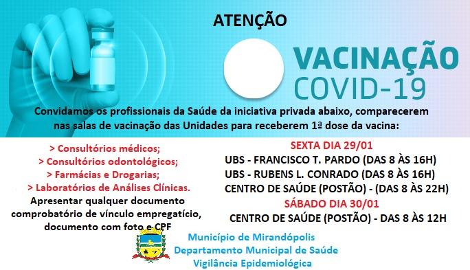 Covid-19: Profissionais da saúde privada receberão vacina sexta (29) e sábado (30)