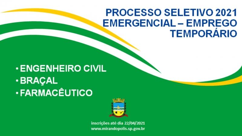 Prefeitura de Mirandópolis abre processo seletivo com 42 vagas